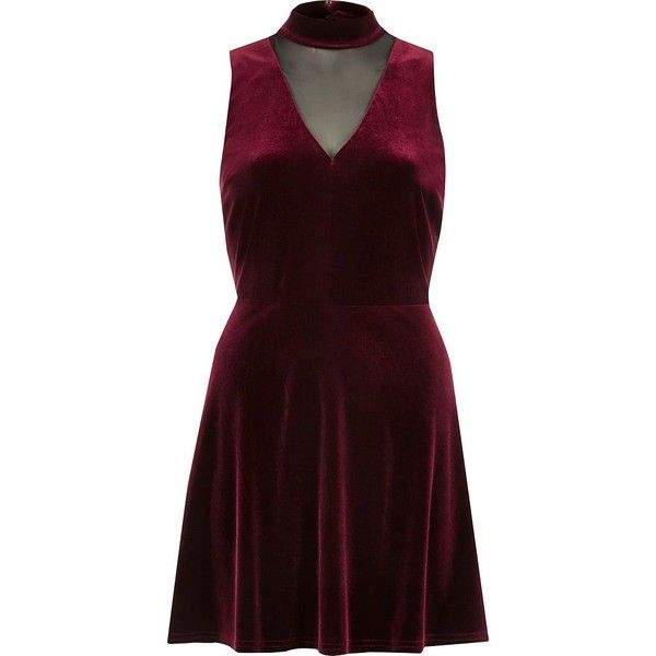 River Island Dark red velvet choker mesh skater dress ( 100) ❤ liked on Polyvore  featuring dresses e2d5df637