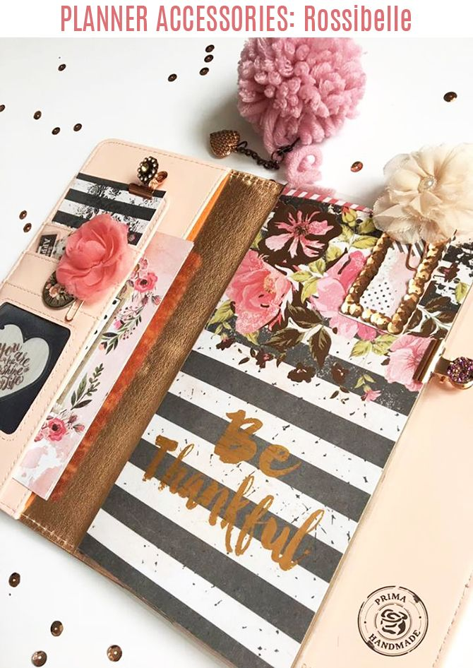 """""""I have such a love for all things planners and love documenting the everyday and those special moments too...here I show how to make some cute and easy planner embellishments using Prima's Rossibelle goodies, which are the perfect fall floral pieces for your planner. The foiled papers look so glamorous in my notebook, and """"Chipboards and More"""" has everything you need to decorate your pages."""" ~ Aideen Fallon"""