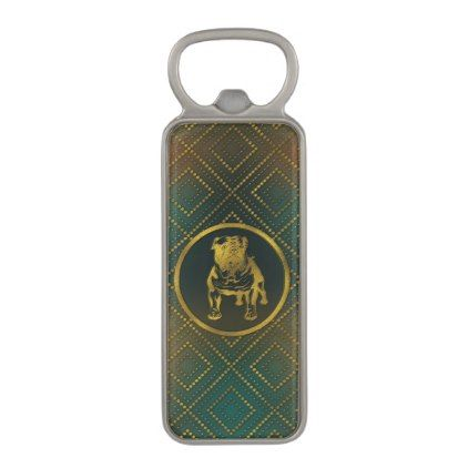 Decorative Bottle Openers Decorative Golden Embossed  English Bulldog Magnetic Bottle