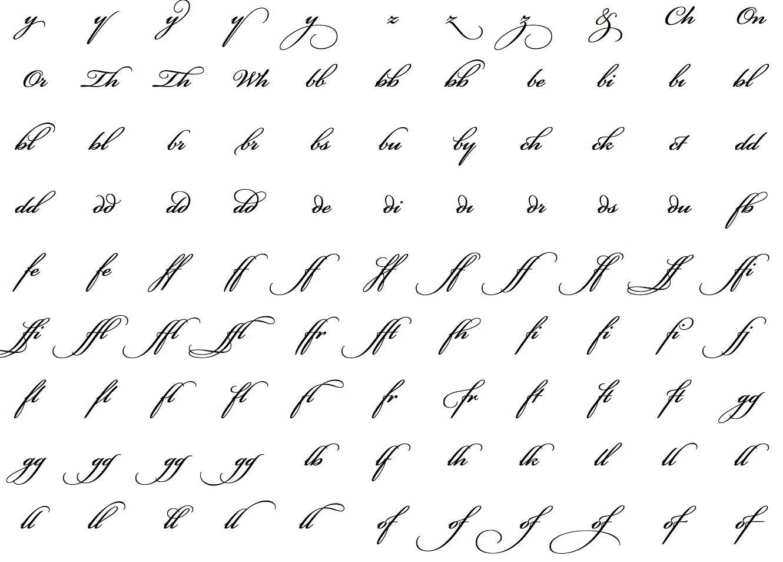 Bickham Script Pro Optional Ligatures