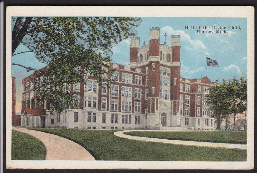 Monroe Michigan Hall Divine Child Postcard Ebay Monroe Michigan Michigan Postcard