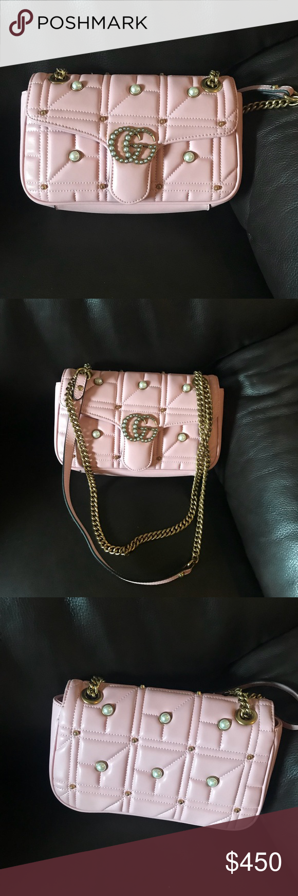 796efee57 Gucci GG Marmont Pearl Pink Nude Small Light pink nude Gucci matelassé leather  shoulder bag with