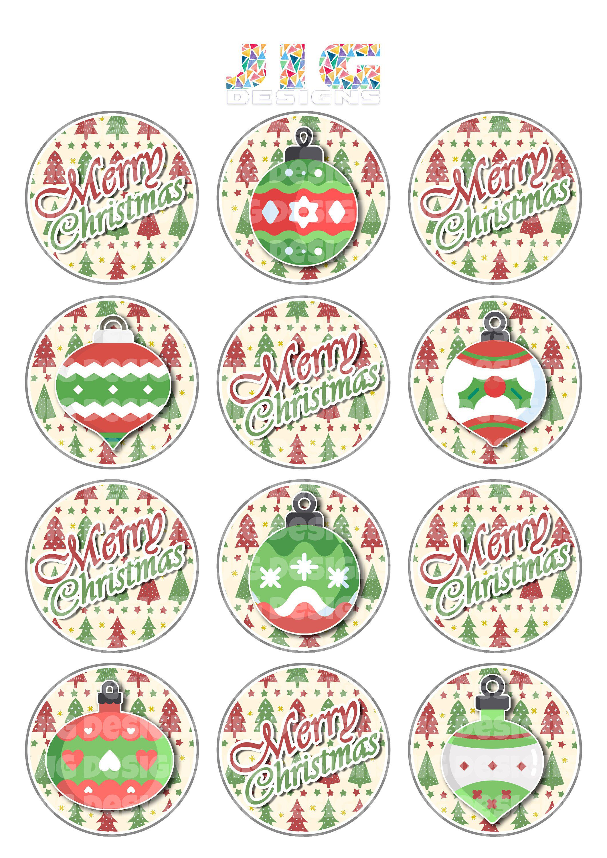 Christmas baubles Printable Cupcake Toppers Merry Christmas Simple ...