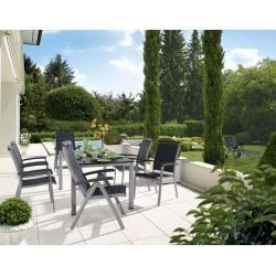 Photo of Mobilier de jardin Sieger Royal set 7 pièces. avec table de jardin aluminium 165×95 cm gris fer / béton graphite foncé