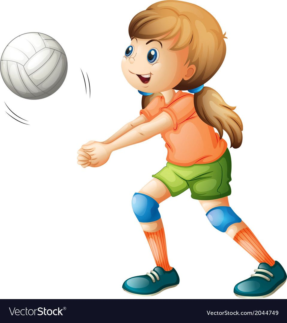 A Smiling Girl Playing Volleyball Vector Image On Vectorstock In 2020 Kids Clipart Cartoon Clip Art Kids Playing
