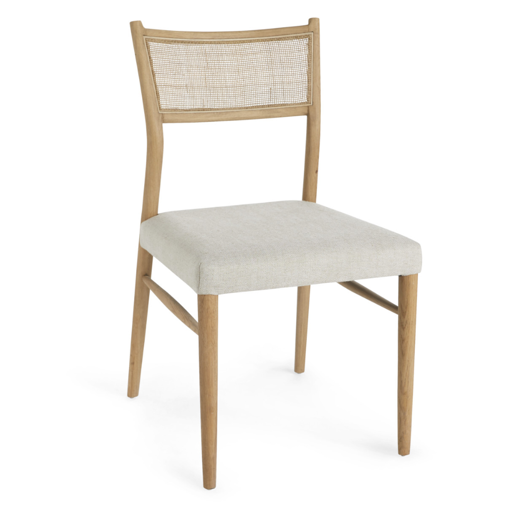 Oak Rattan Back Cushioned Dining Chair In 2020 Dining Chair