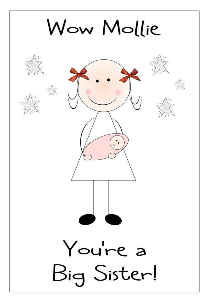 New Baby Congratulations or Birthday Handmade Personalised Big Sister Card