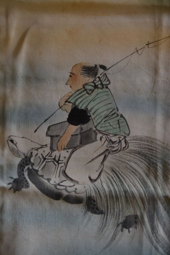 Green silk fukusa, vintage Japanese cloth, Urashima Tarō