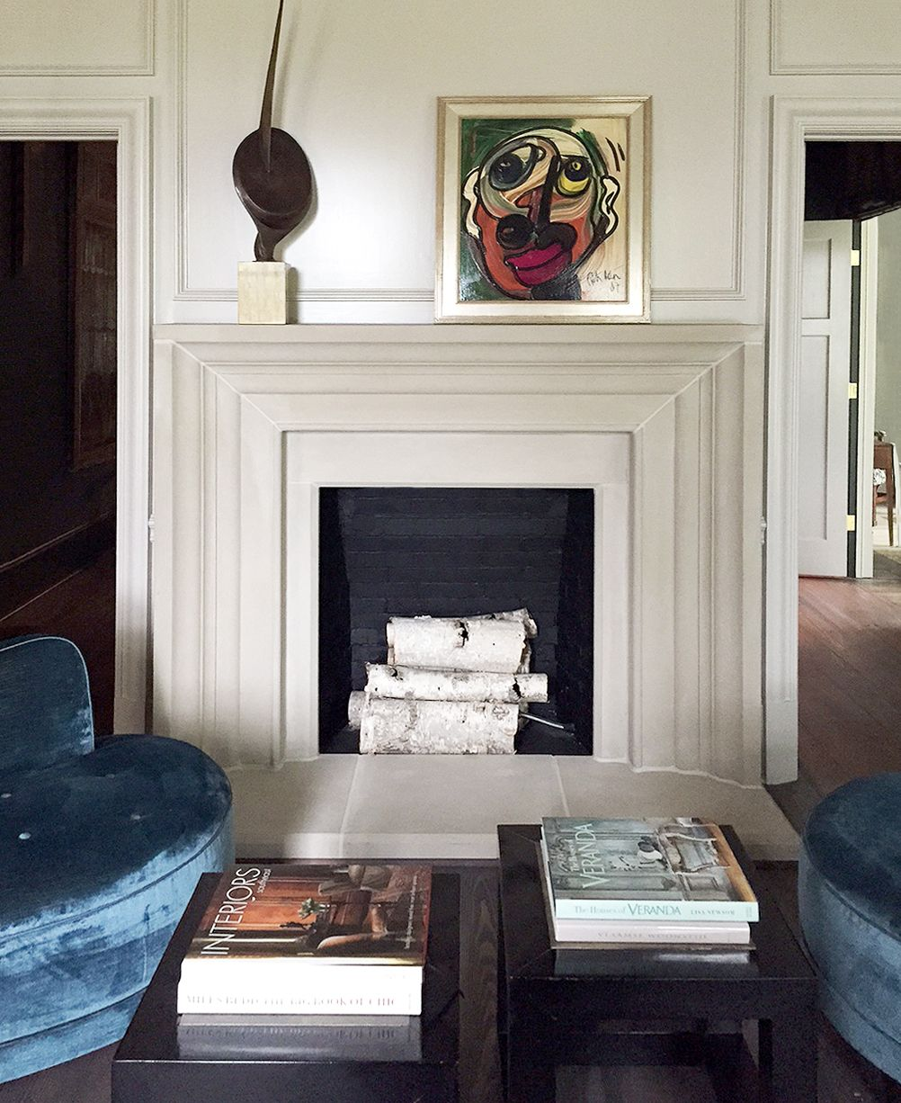 The classic mantel design has a simple and clean linear quality with