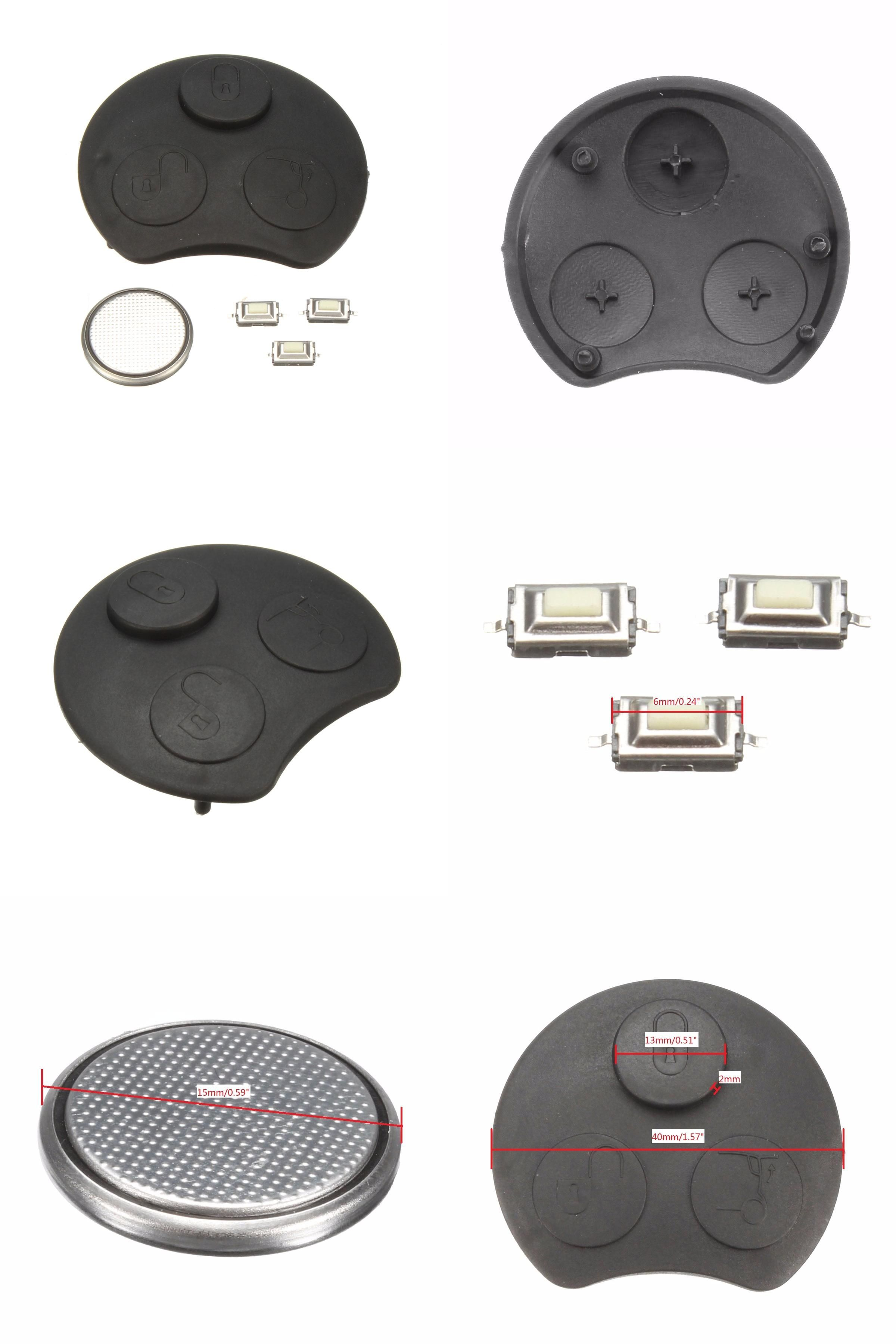 Visit To Buy 3 Button Car Remote Key Fob Case Repair Kit Rubber