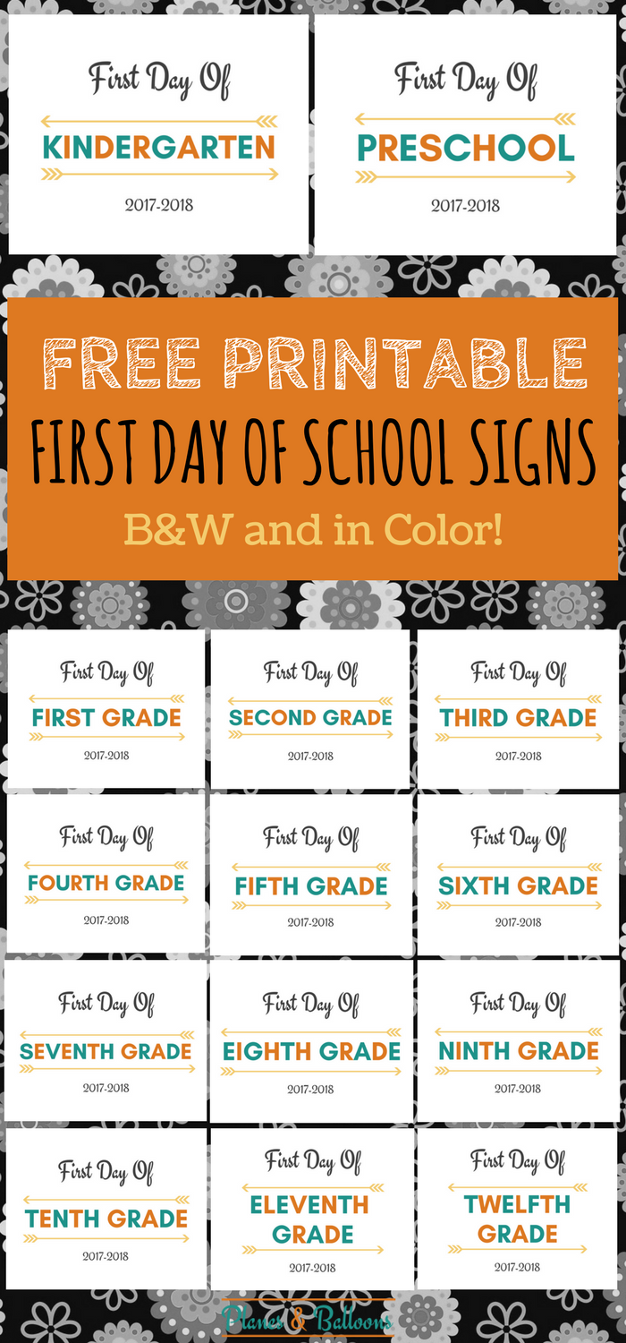 First Day Of School Printable Free 2017 2018 School Year Planes