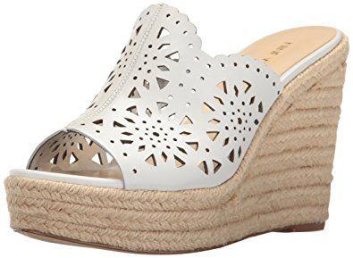 Nine West Women S Derek Leather Wedge Sandal White 9 M Us Bayan Ayakkabi Ayakkabilar Sandalet