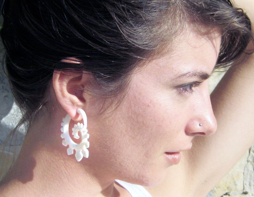 Fake gauge earrings bone earrings spade spirals tribal
