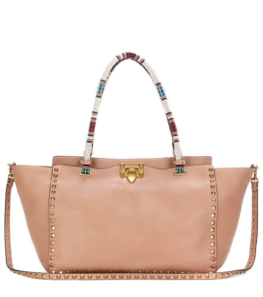 Valentino - My Rockstud embellished leather shoulder bag - We love the new  season update to this nude version of Valentino's coveted 'My Rockstud' tote  bag.