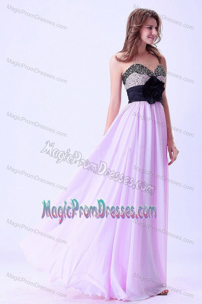 Lilac and Black Sweetheart Floor-length Prom Attire with Beading in ...
