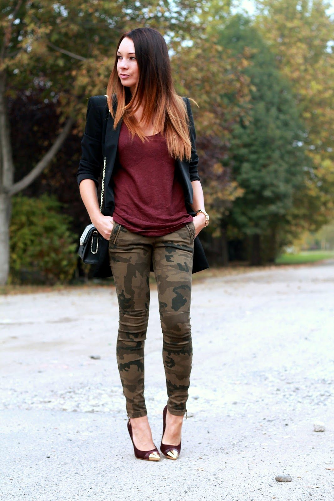 f3f979cdf4851 Cashmere in Style: Oxblood & Camo love the pairing of the camo with the  deep oxblood....possible tights with combat boots? hmmmm
