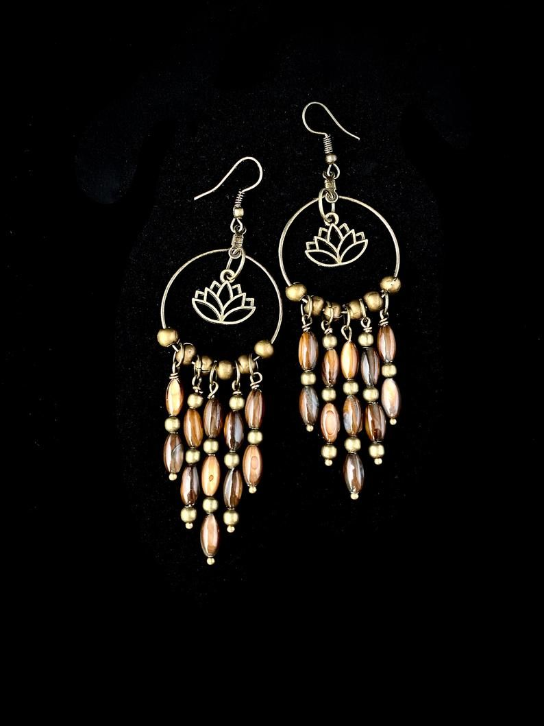 Bohemian Brown Shell w/ Lotus Beaded Chandelier Earrings, Tribal, Gypsy, Island Style, Philippines, Nature Inspired, Boho, Statement
