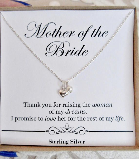 mother of the bride gift from groom sterling silver heart necklace