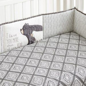 Levtex Baby Bailey Charcoal And White Arrow 4 Piece Crib