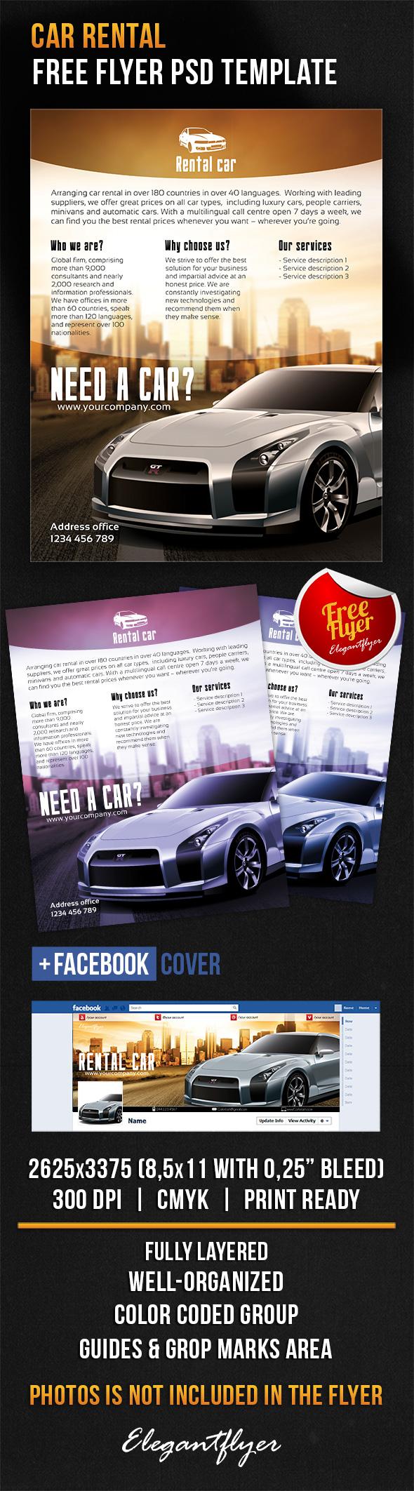 Car Rental Free Flyer Psd Template Facebook Cover Psd Templates Flyer Website Design