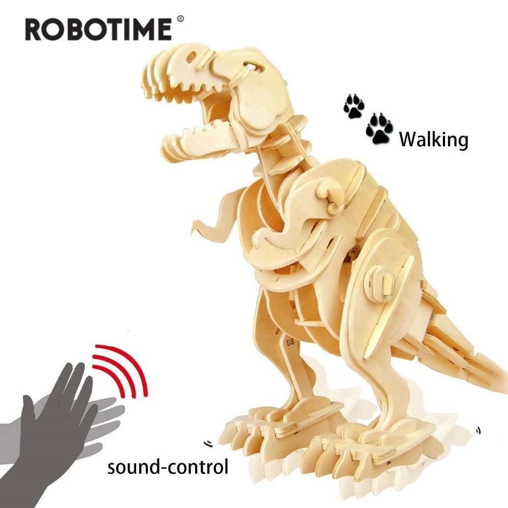 Robotime 3D Wooden Walking TRex Dinosaur Model with Sound
