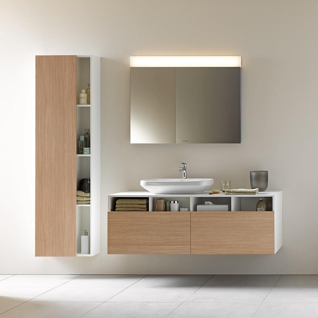 Duravit Ag On Instagram The Mix Of Closed And Open Fronts In The Bathroom Furniture Made Of Real Wood Give Bathroom Furniture Stylish Bathroom Bathroom Style