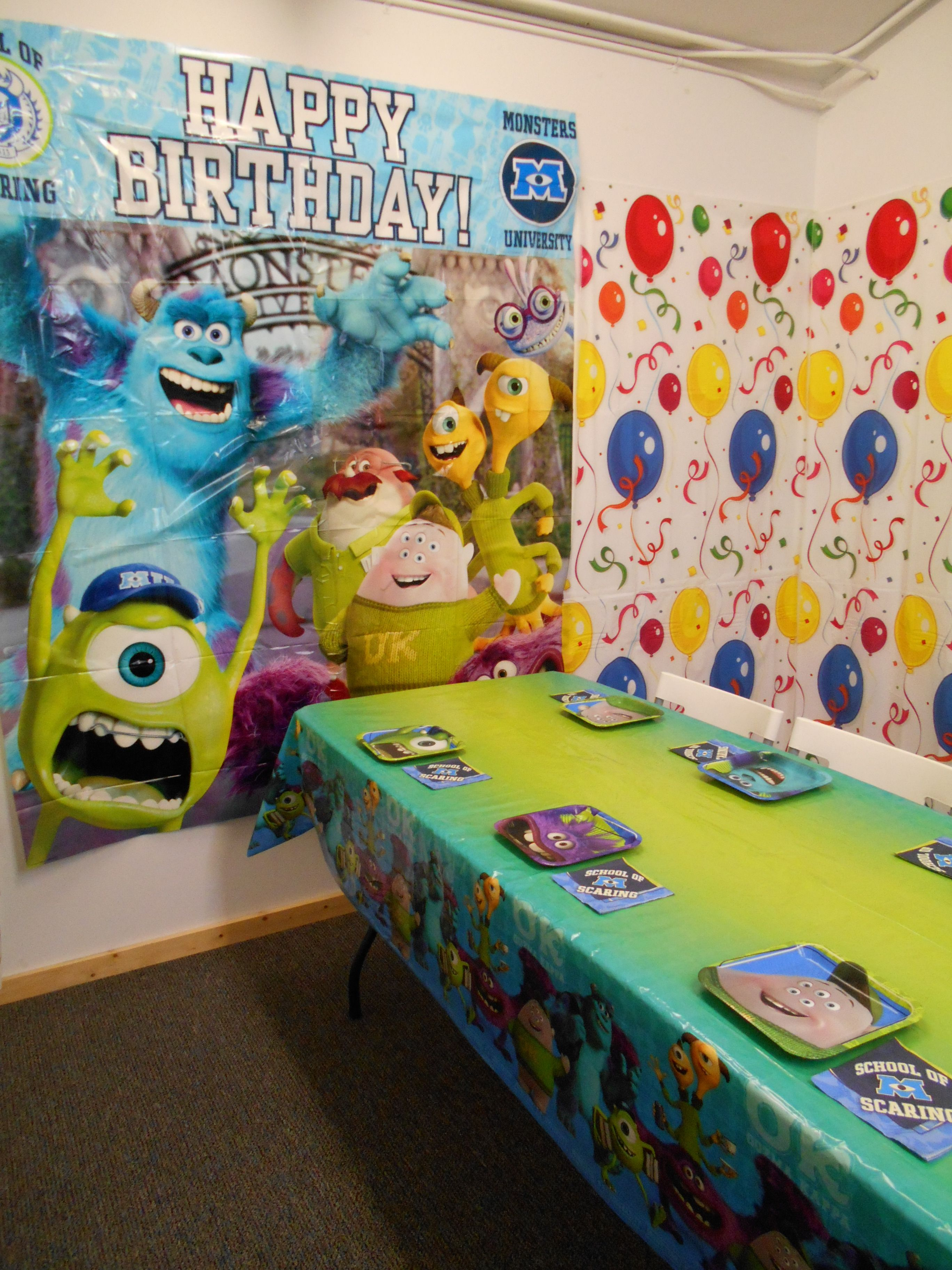 Monsters University Party theme- great colors!  At Imagine: Play, McMinnville Oregon.