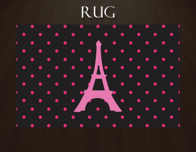Pink Polka Dot Rug, Paris Rug With Eiffel Tower, Pink And Black Rug,