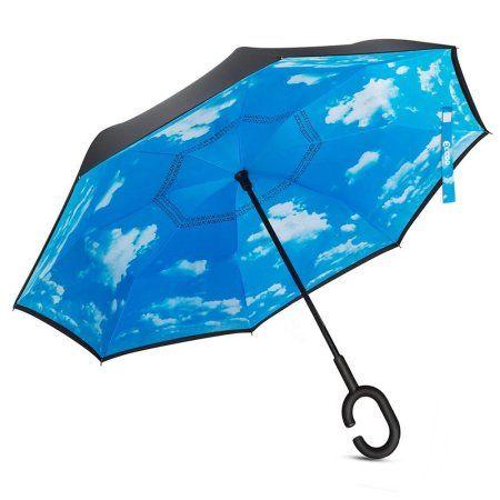 Windproof Double Layer C-Shaped Handle Car Reverse Umbrella UV Protection /& Rain Unique Umbrella
