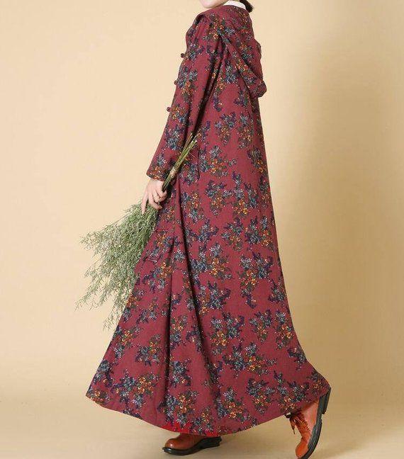 Women Hooded long coat, winter coat, maxi coat, Winter Jacket, Loose fitting coat, Plus velvet overcoat