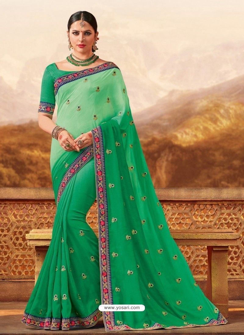 a94428465d5473 Jade Green Silk Embroidered Saree
