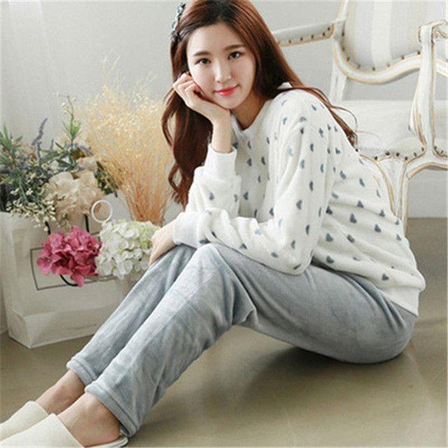 108b5150a2 Autumn Winter Women Pajamas Sets Flannel Long Sleeve Pyjamas Thick Warm Coral  Velvet Suit Pyjamas Cartoon Animal Pants Sleepwear