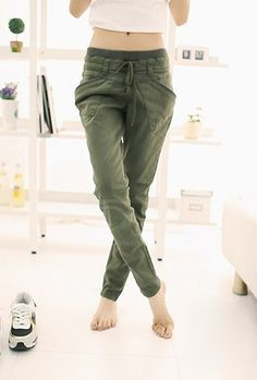 Womens Pure Color Pants Long Loose Small Leg Opening Trouser Army Green