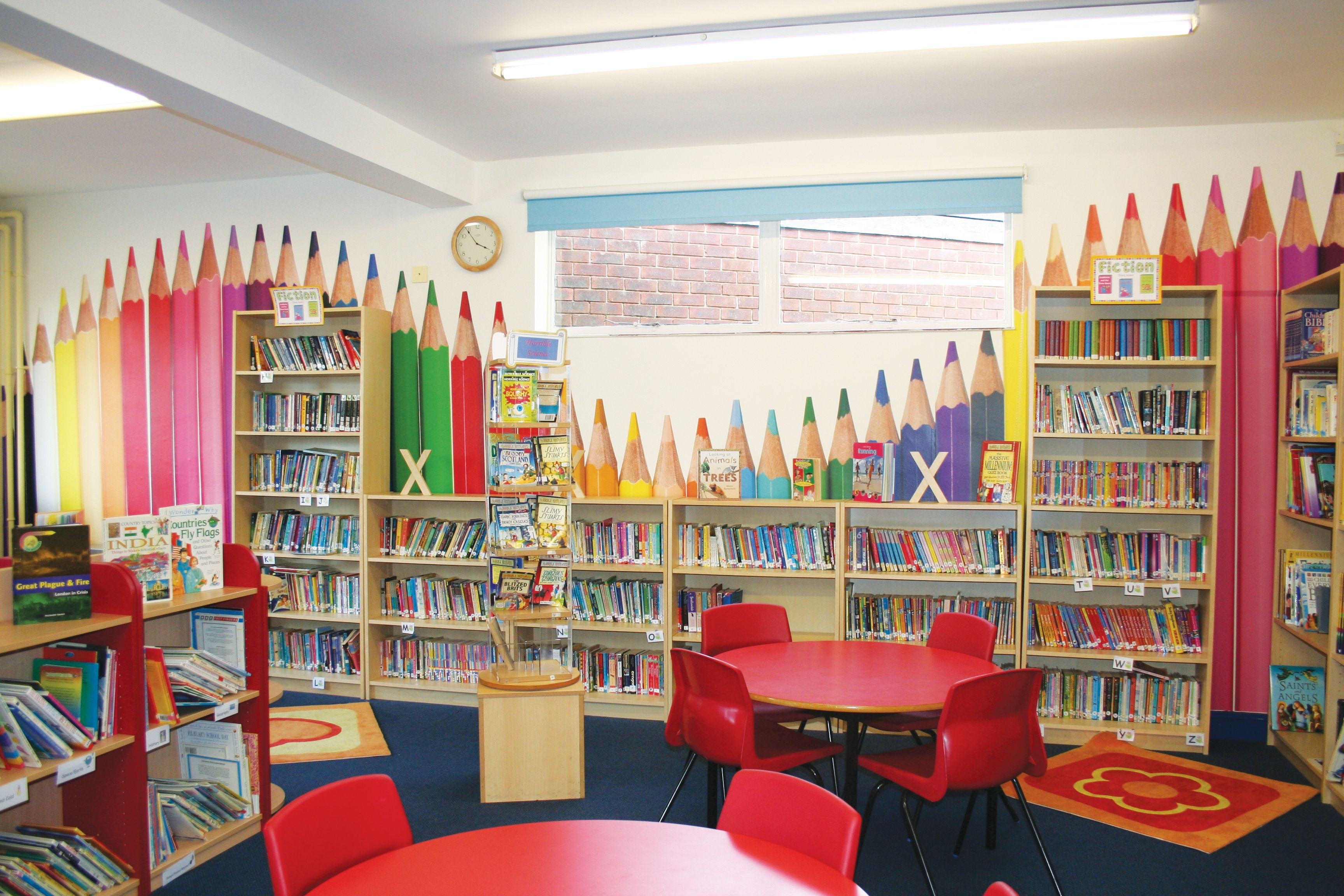 Classroom Design For Literacy ~ Bowden primary school library pencils feature wall