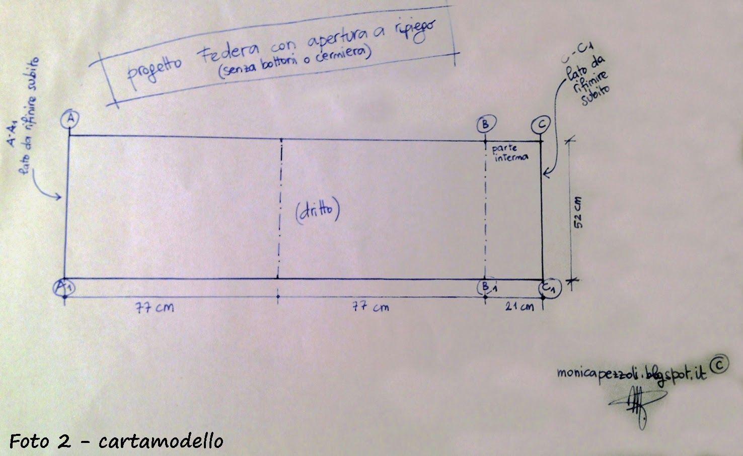 Come Realizzare Una Federa Per Cuscino.Progetto Per Realizzare La Federa Per Cuscino Con Apertura A Ripiego