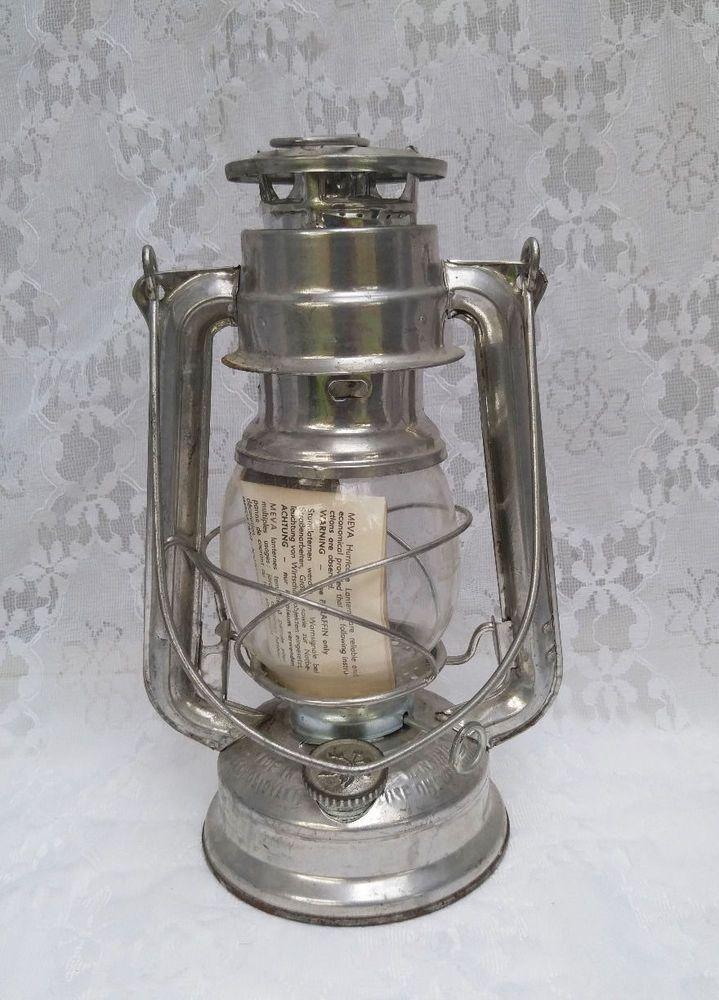 Vintage Meva 863 Hurricane Lantern Oil Kerosene Lamp Rustic