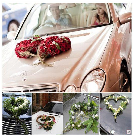 Decoration voiture mariage composition florale coeur - Decoration florale voiture mariage ...