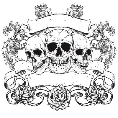 1869578 Stock Photo Three Skulls With Banners Scrolls And Roses Jpg 400 400 Skulls Drawing Skull Coloring Pages Skull Stencil