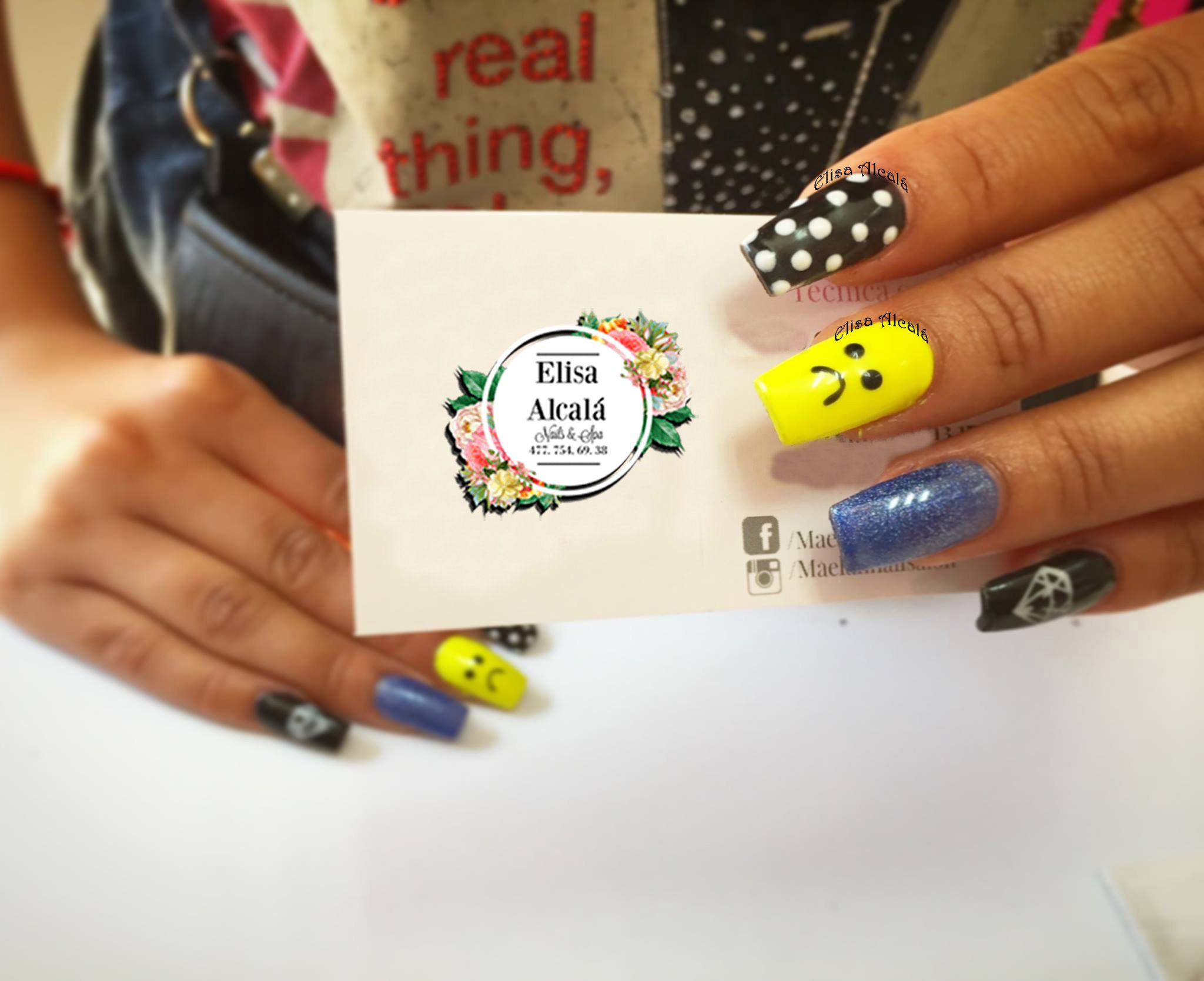 Uñas acrilico sad face puntos blancos diamante sticker Nail Art ...