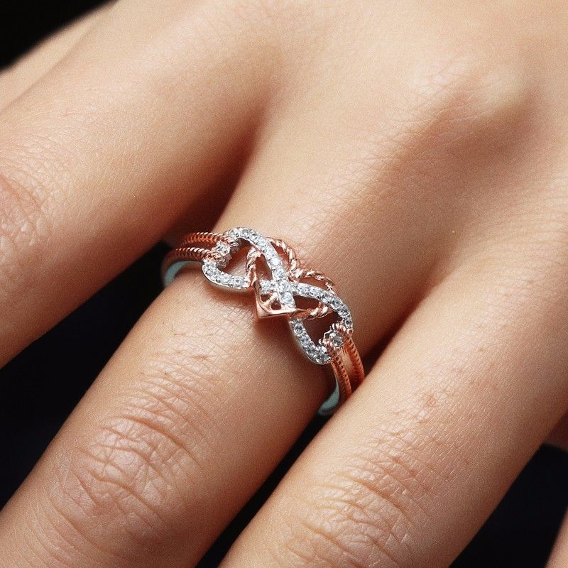 Solid Two-Tone 14k Rose Gold Anchor Diamond Ring