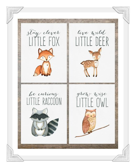 Woodland Animal Prints Set Of 4 Baby Boy Nursery Creatures Decor Fox Print Deer Owl