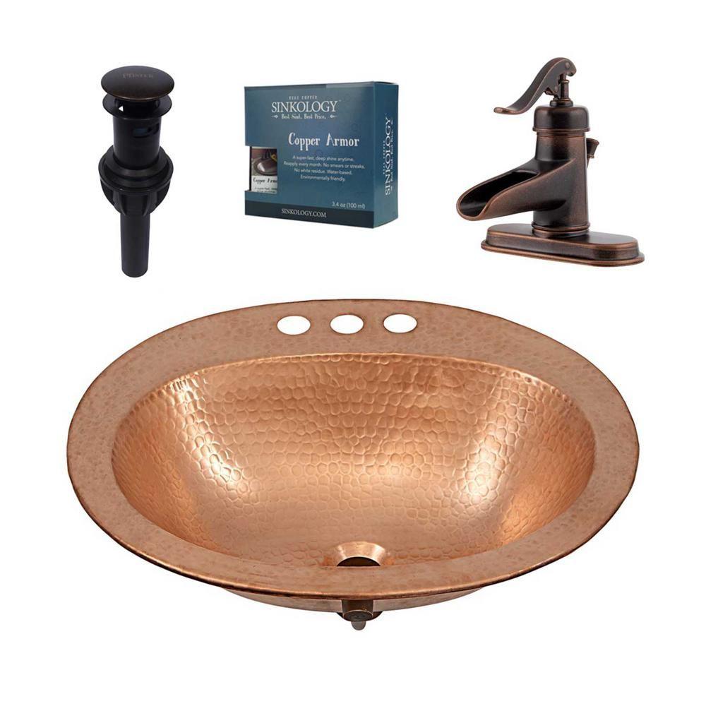 Sinkology Kelvin All In One Drop In Copper Bathroom Sink Design