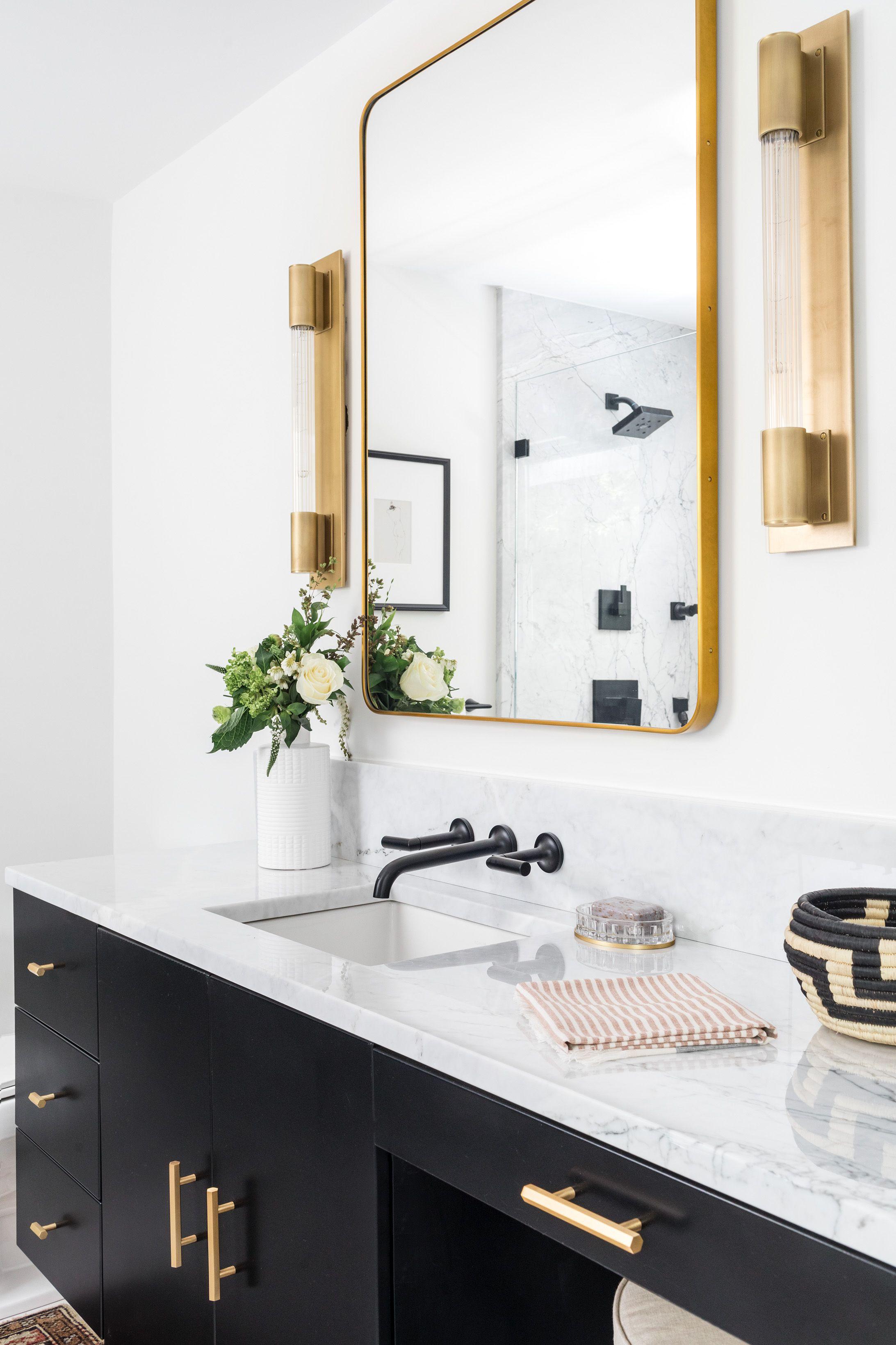 Modern Bathroom Black Vanity Brass Accents Top Bathroom Design Black Bathroom Bathroom Design Small