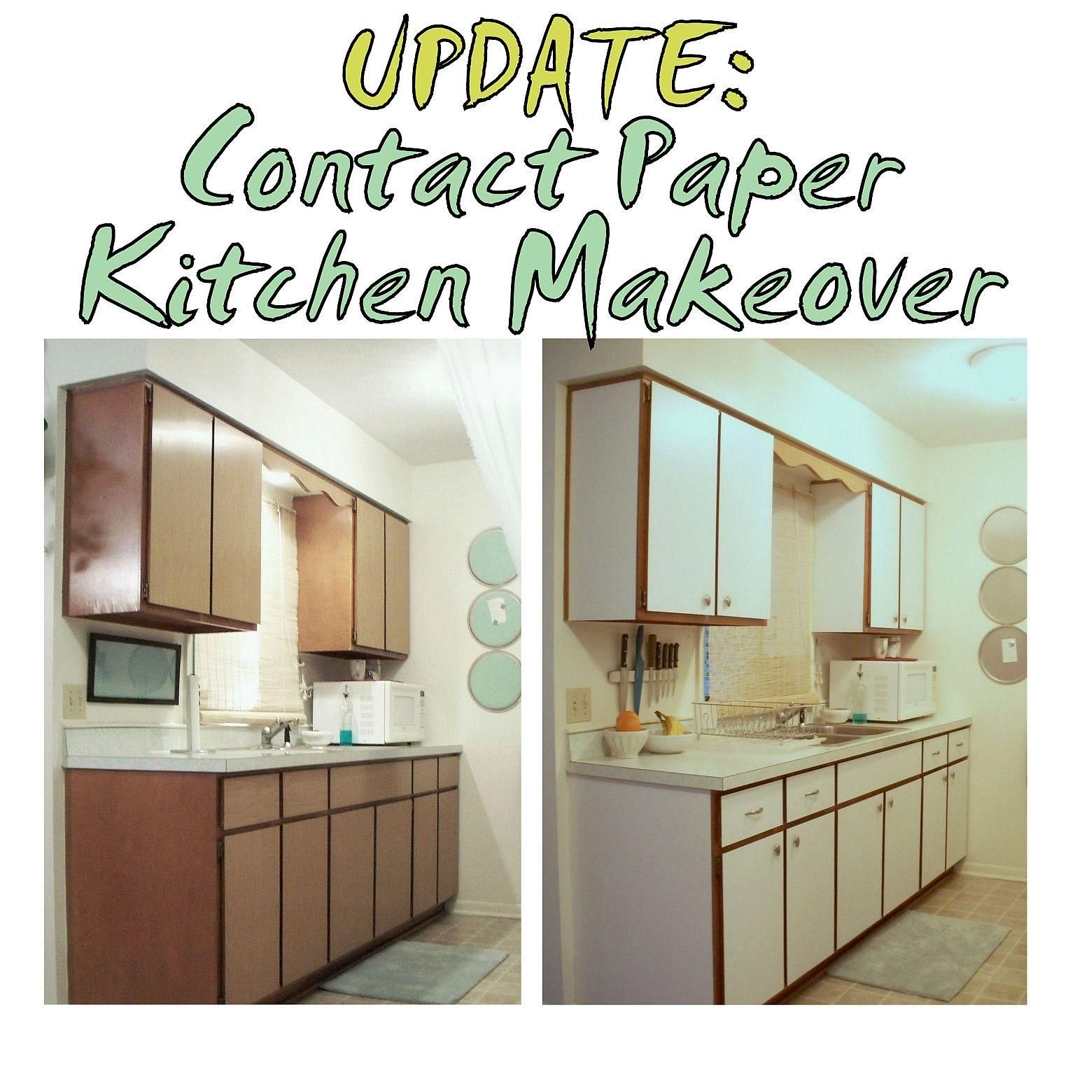 Previous Kitchen Makeover With Contact Paper Before And After Rental Apartment Cabinets Drawers Cupboards The Decor Guru