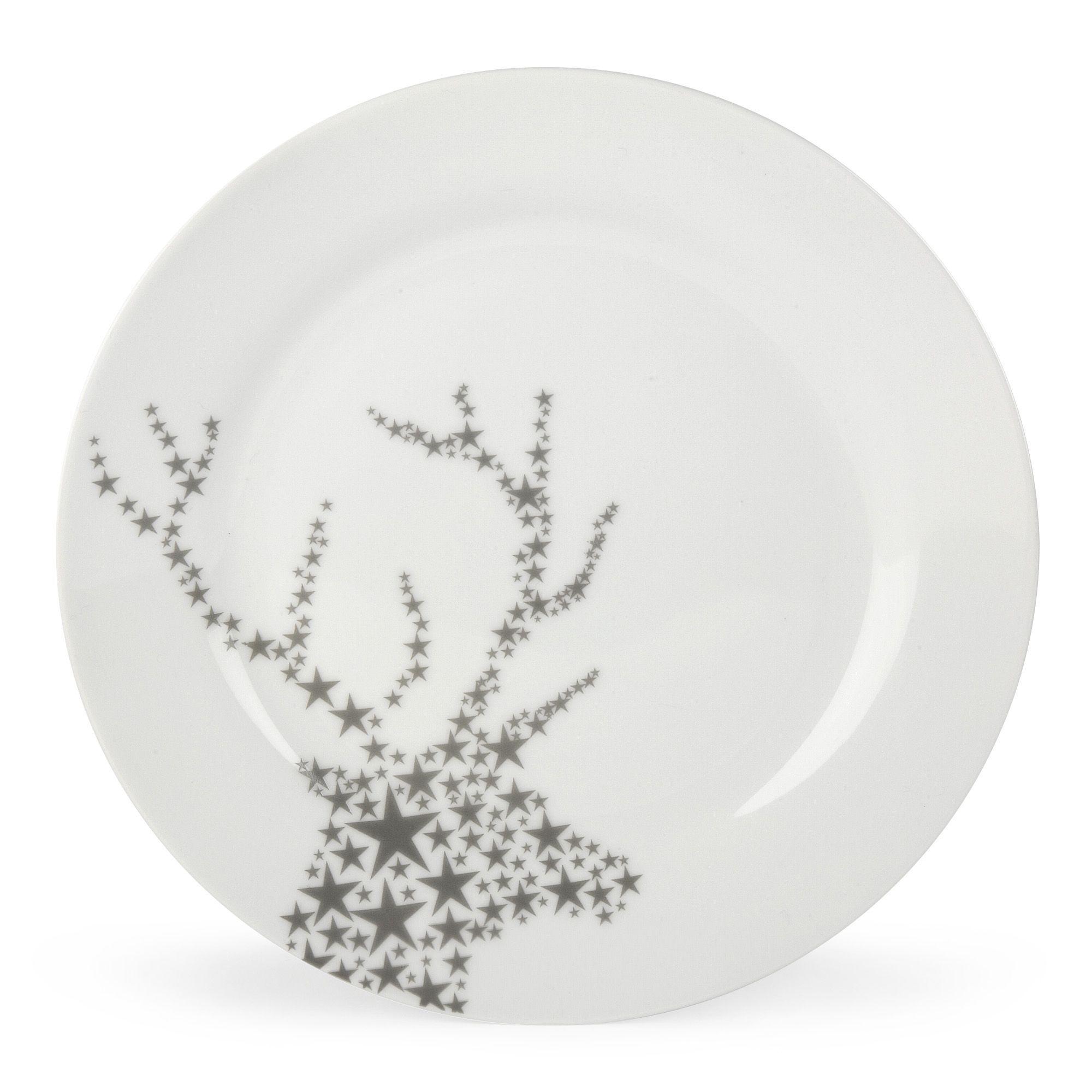 assiette plate blanche et argent e fauna les assiettes plates assiettes arts de la table. Black Bedroom Furniture Sets. Home Design Ideas