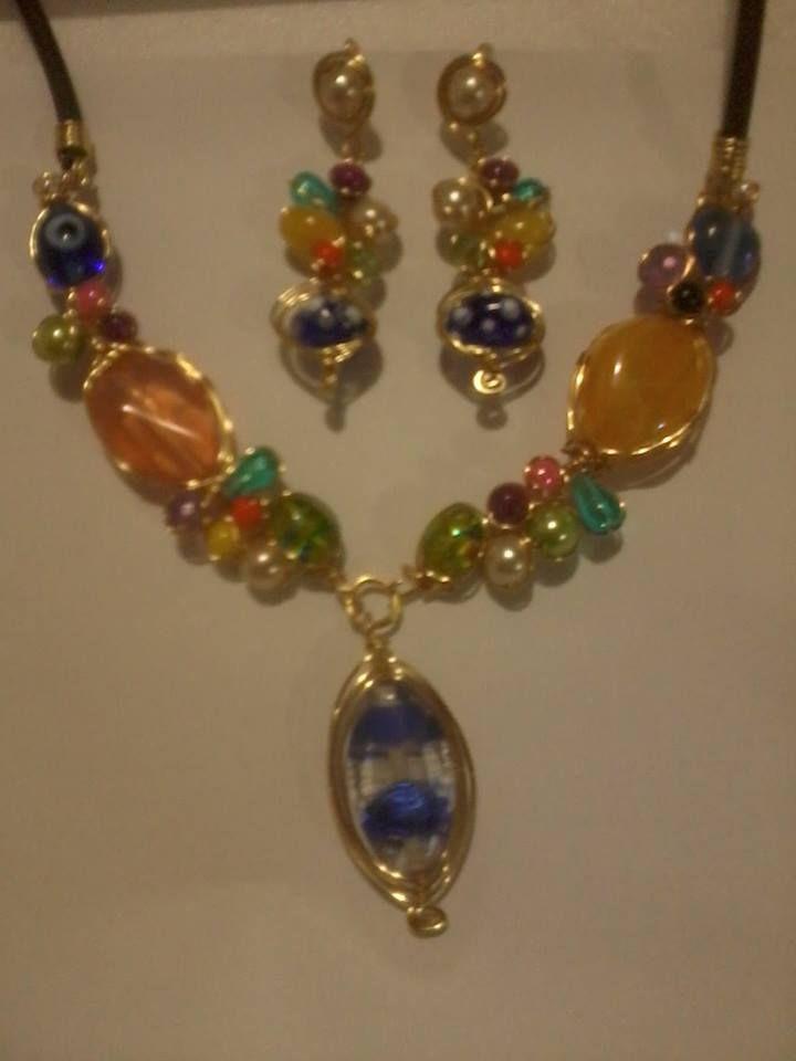 1c145eb569bb conjunto en alambrismo y piedras en colores varios.. | Rosa | Collar ...