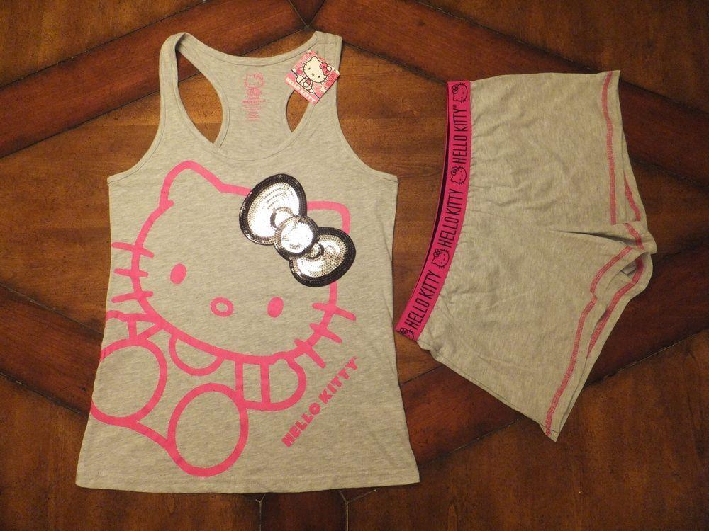 56d2a79204cd9f NWT Womens HELLO KITTY Gray Boxers Sleep Shorts   Tank Top Pajama Set  SEQUINS  HelloKitty  SleepwearSet