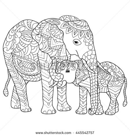 Hand Drawn Elephants Coloring Page Elephant Coloring Page Animal Coloring Pages Detailed Coloring Pages
