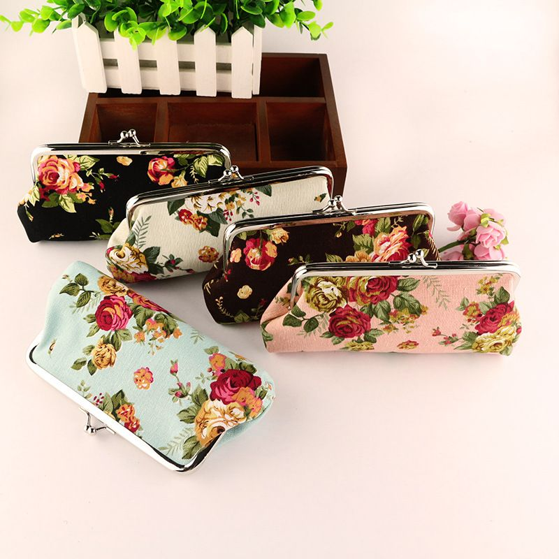 Vintage Retro Garden Floral Canvas Coin Change Key Purse Handbag Women Wallet
