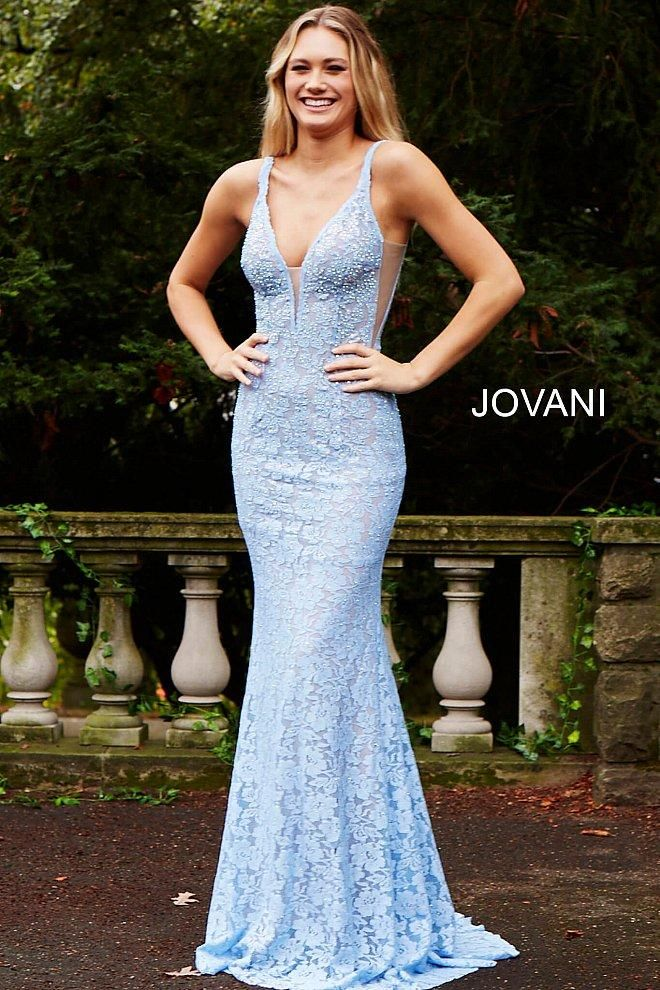 345386848a Jovani Fitted Lace Long Gown 48994 in Light Blue